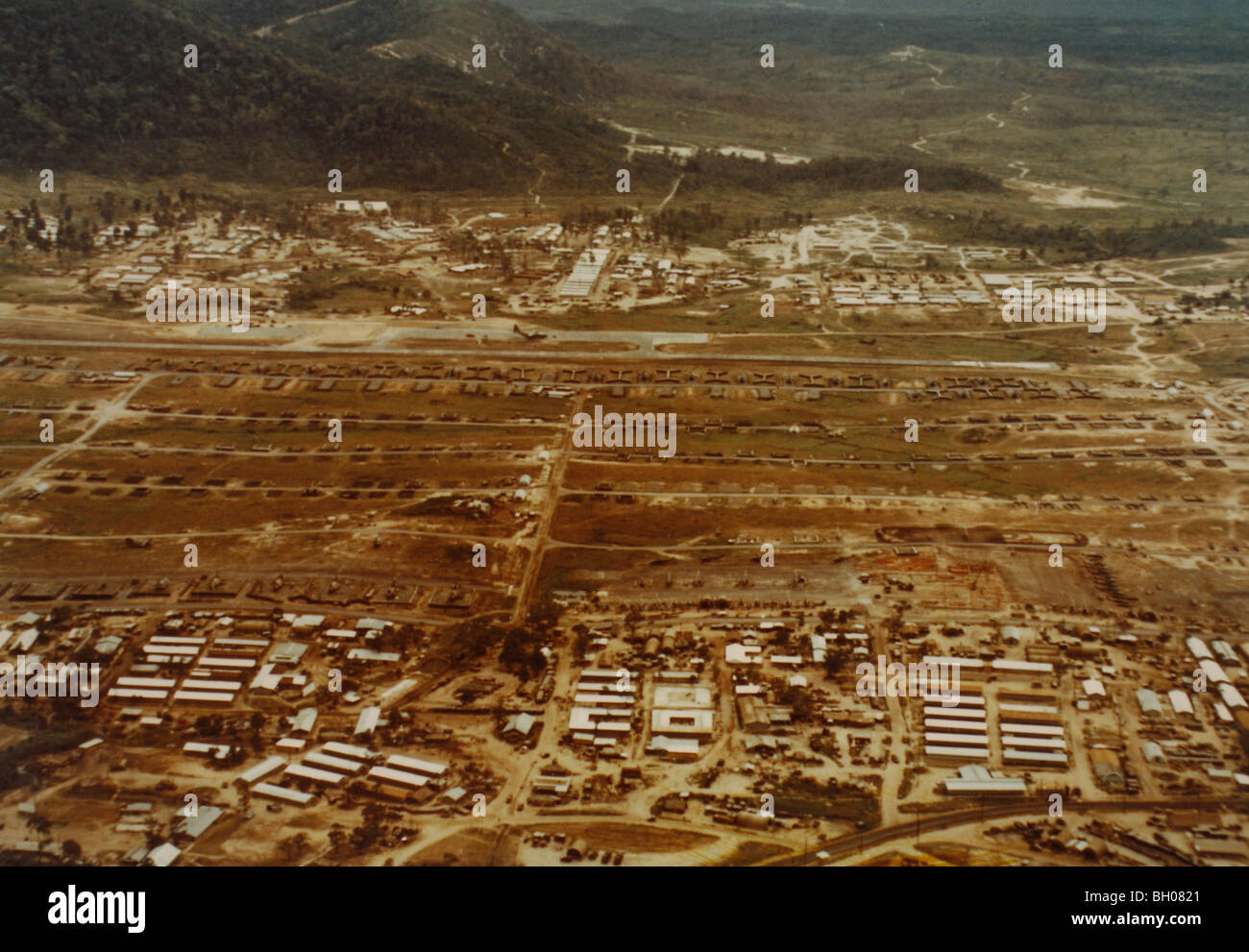 Aerial view of the heliport of the 1st Cavalry Division at An Khe, looking north. - Stock Image