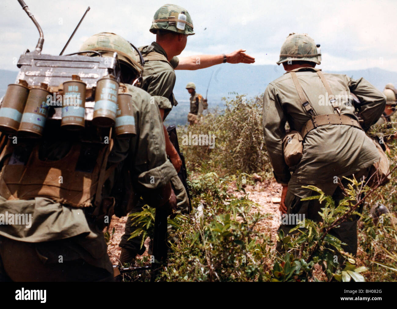 a search and destroy mission conducted by the Bravo Blues infantry Troop B, 1st Squadron, 9th Cavalry, 1st Cavalry Stock Photo