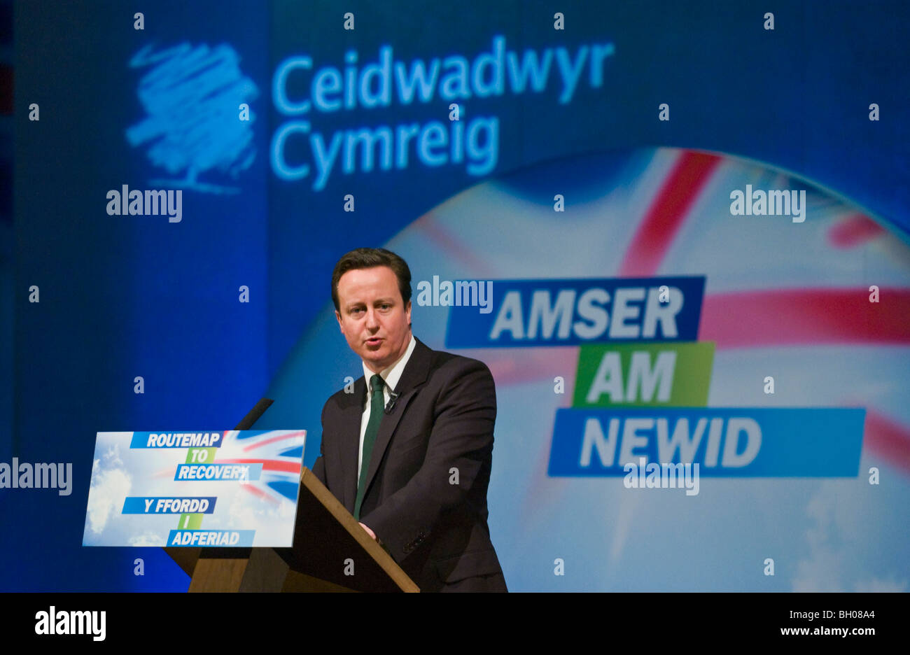 David Cameron MP for Witney Tory leader speaking at Welsh Conservative Party Conference in Cardiff South Wales UK - Stock Image