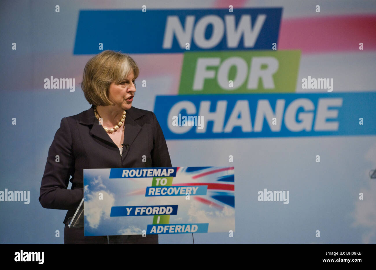 Theresa May MP for Maidenhead speaking at Welsh Conservative Party Conference in Cardiff South Wales UK - Stock Image