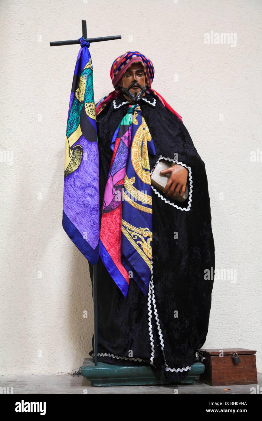 Saints dressed in handmade clothes, Church, Santiago Atitlan, Lake Atitlan, Guatemala, Central America  - Stock Image