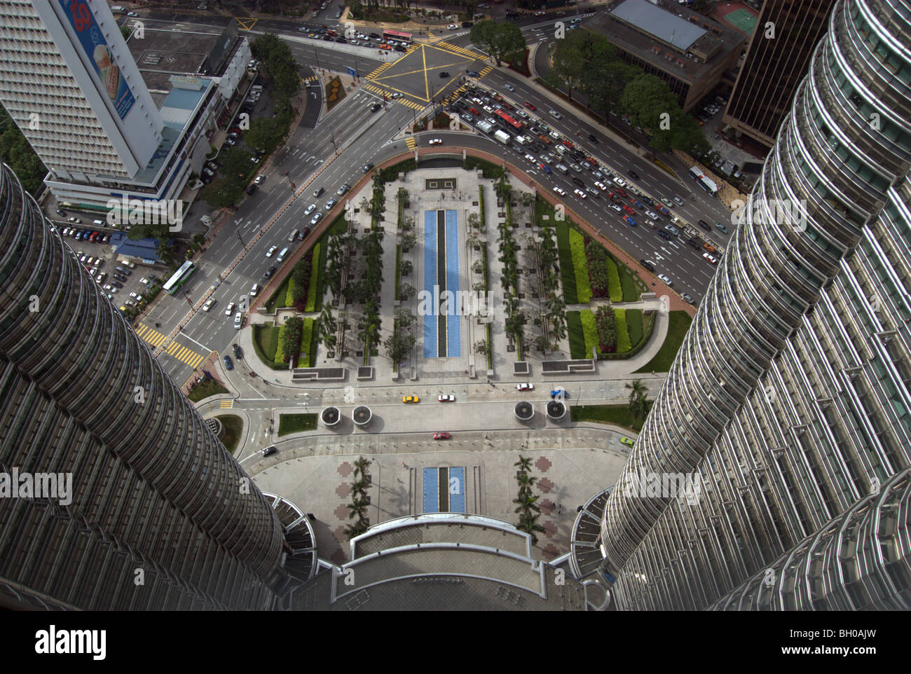 View of ground from Petronas Towers, Kuala Lumpur, Malaysia - Stock Image