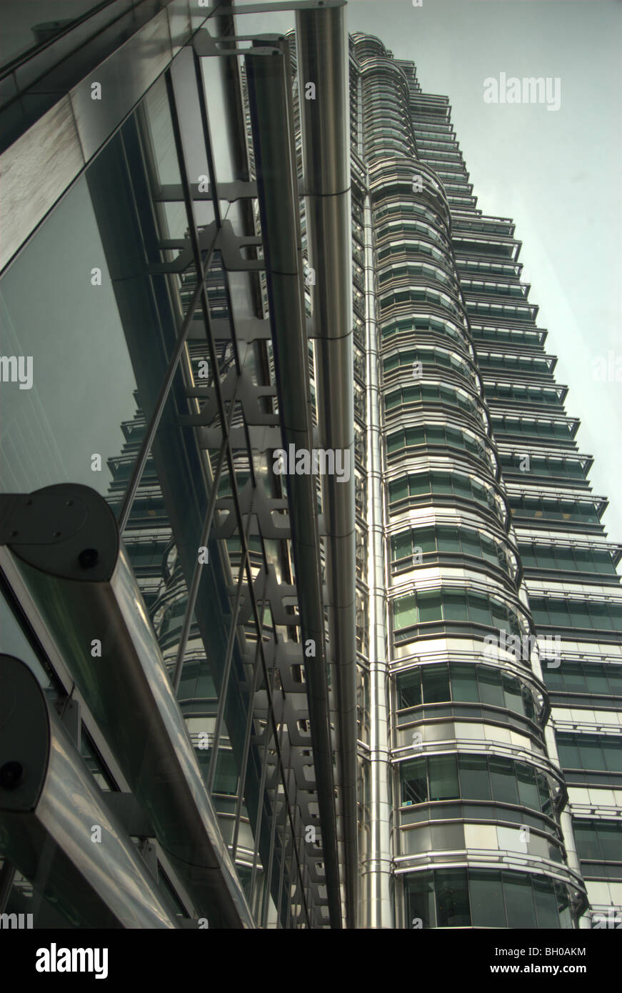 View looking up the Petronas Towers, Kuala Lumpur, Malaysia - Stock Image