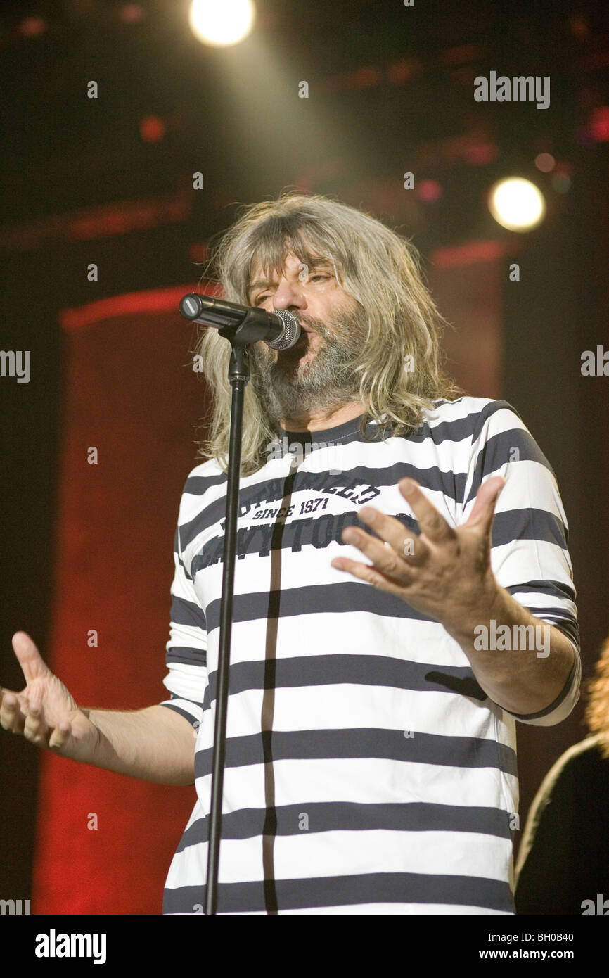 BUDAPEST - DECEMBER 05 2009: Hungarian singer 'HOBO' performs on stage at Millenaris - Stock Image