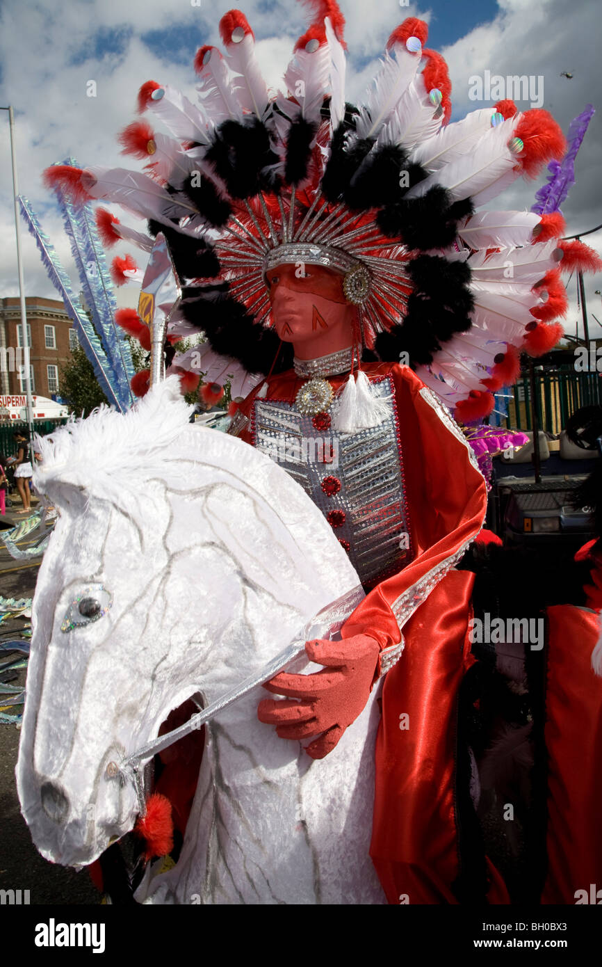 Carnival float. Model of Native American Indian Chief. Notting Hill Carnival, Notting Hill. London. England. UK. - Stock Image
