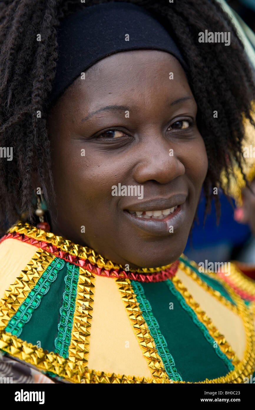 Mature woman in carnival costume. Portrait. Notting Hill Carnival, Notting Hill. London. England. UK. - Stock Image
