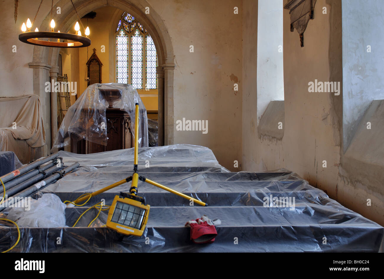 St. Mary`s Church interior during restoration, Ardley, Oxfordshire, England, UK - Stock Image