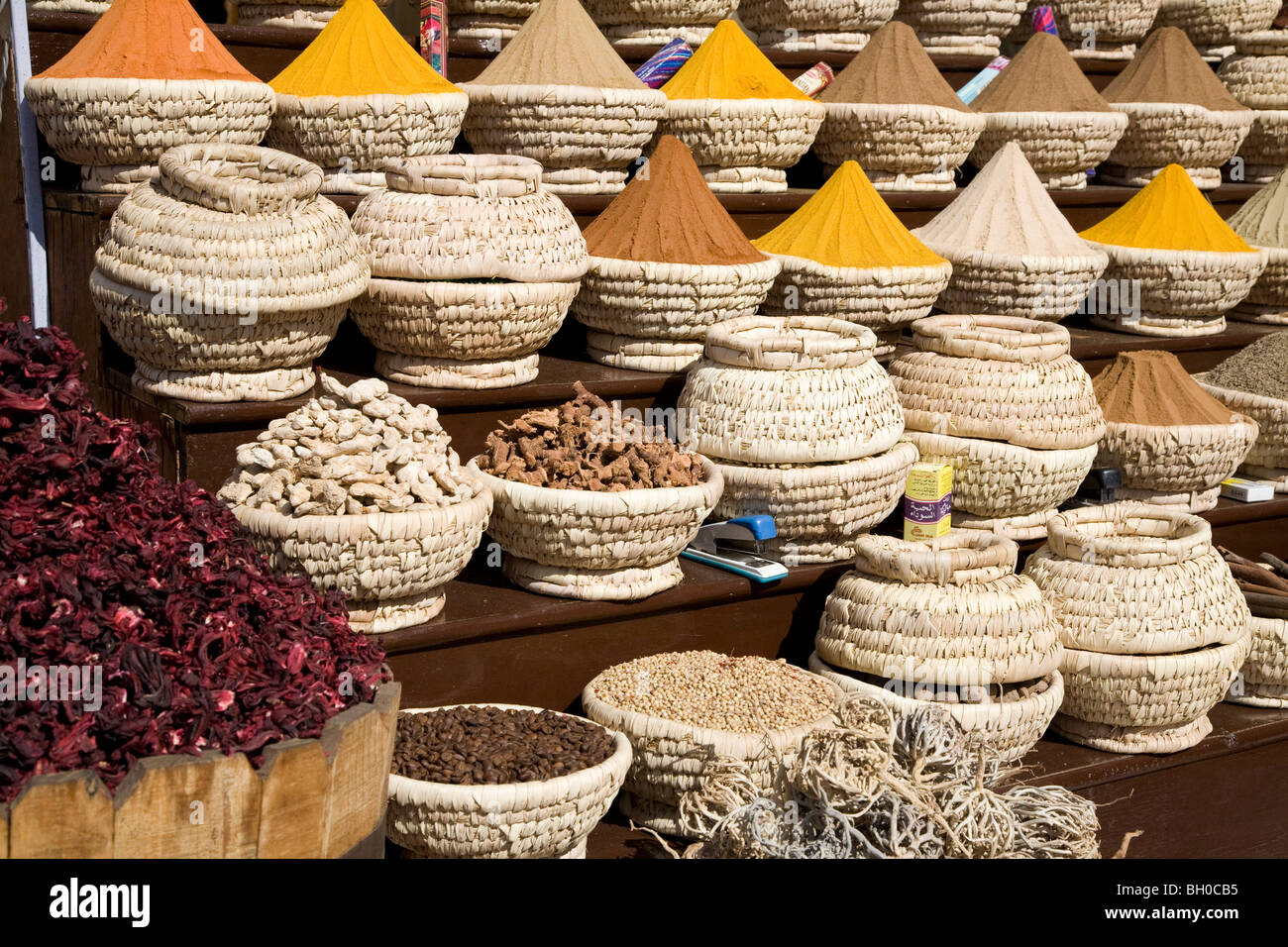 Still life. Baskets of spices on display in Sharm El Sheikh market. Egypt. Africa. - Stock Image