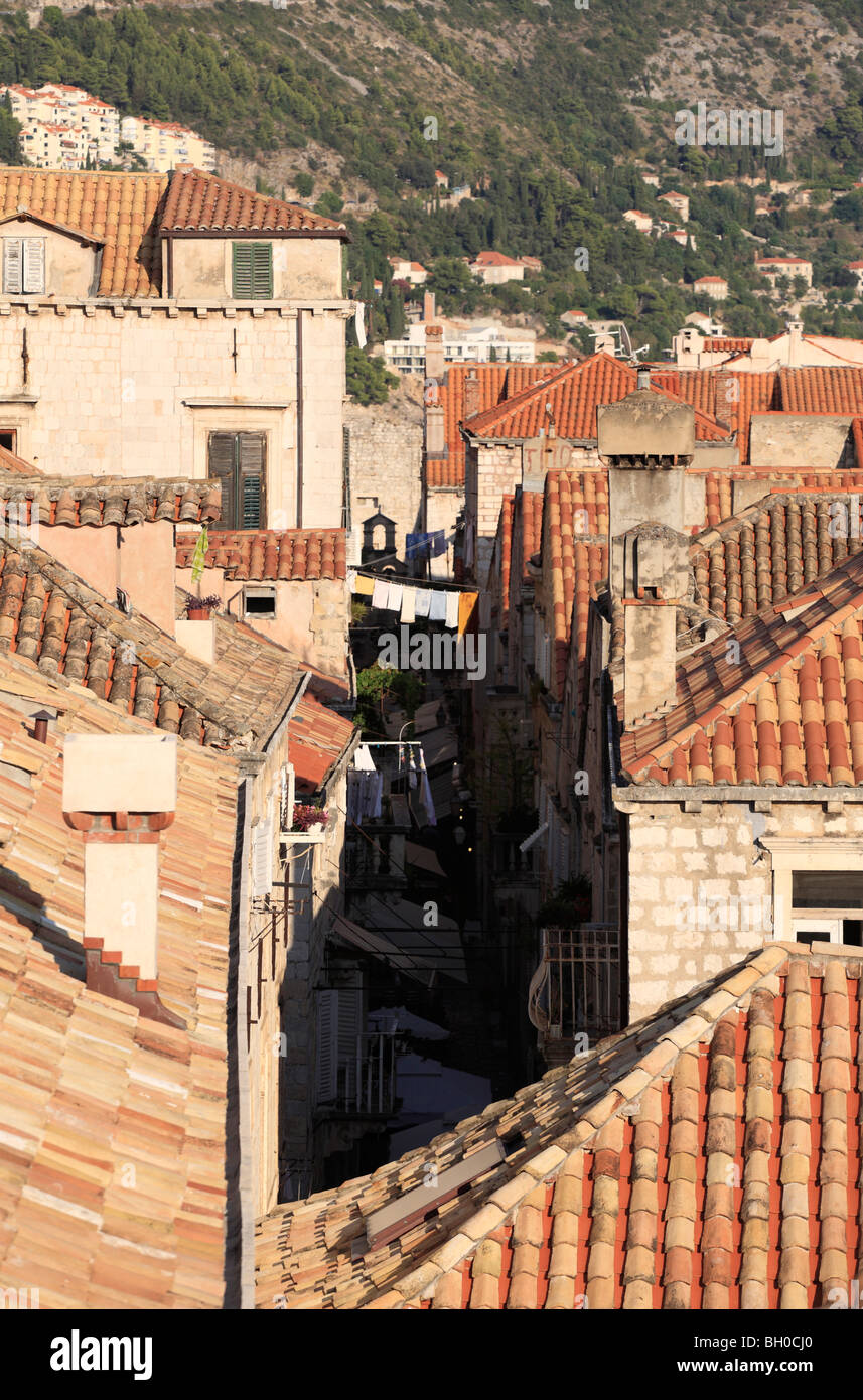 Looking down on the red rooftops and churches of Dubrovnik Old Town Croatia from the fortified city wall - Stock Image