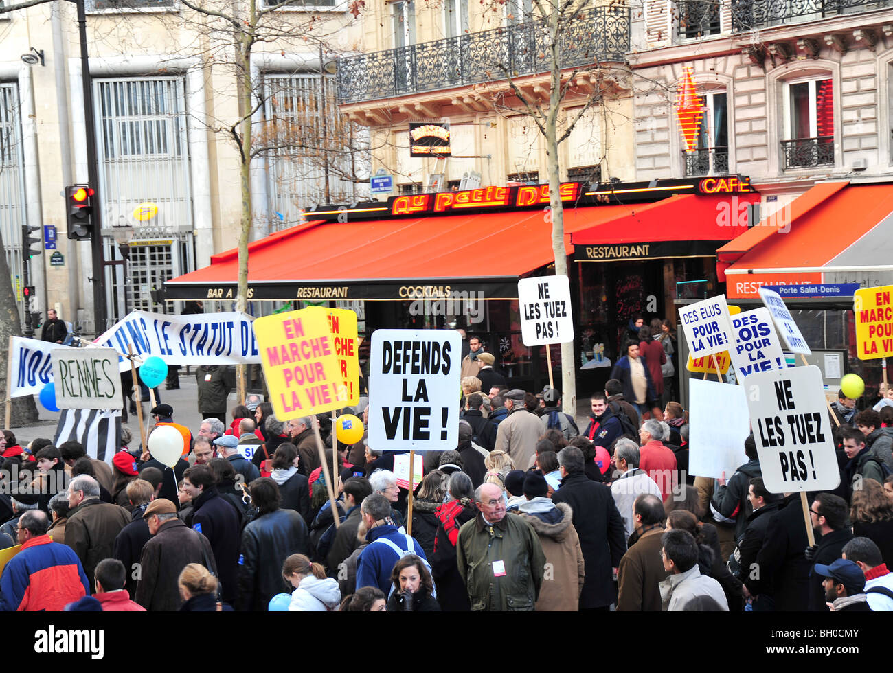 paris demonstration against abortion - Stock Image