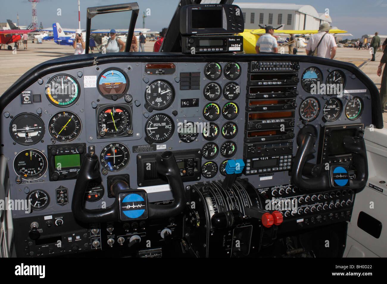 Britten-Norman BN-2 Islander aircraft cockpit interior - Stock Image