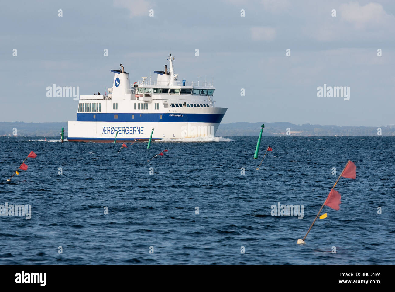 A Danish domestic ferry at the waters of southern Funen. - Stock Image