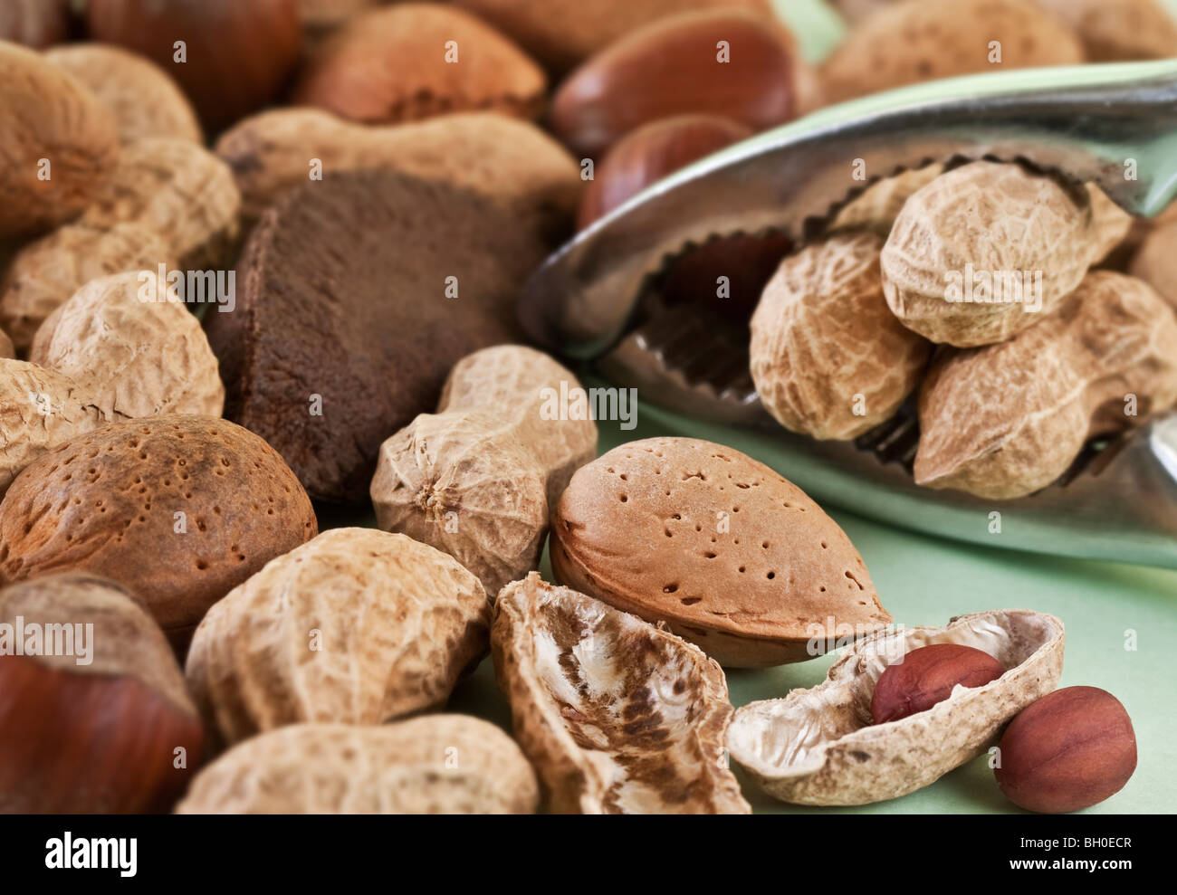 Mixed Nuts and Nutcracker filled with Peanuts - Stock Image