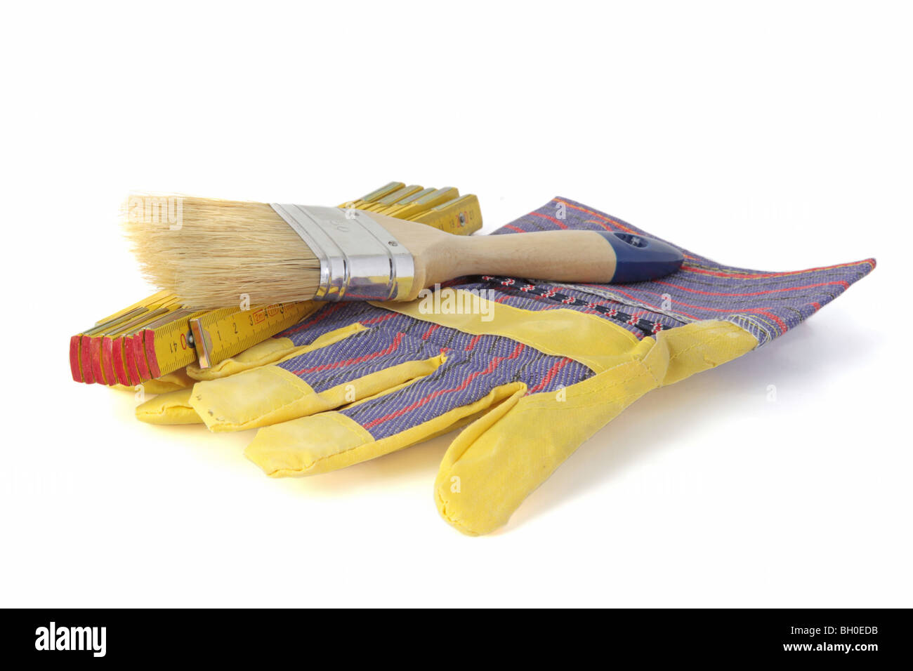 Typical tools of a house painter. All isolated on white background. - Stock Image