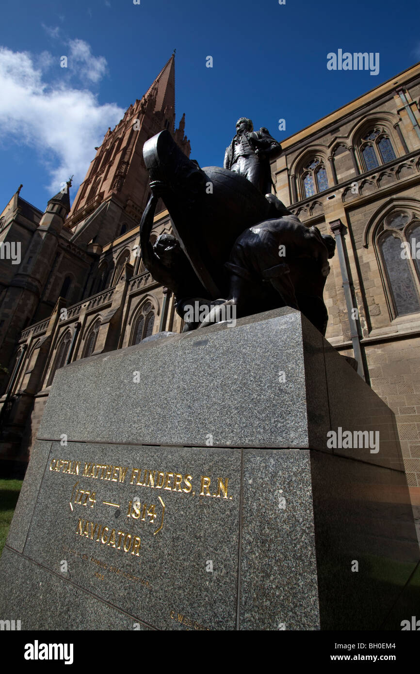 Statue of explorer Matthew Flinders at St. Paul's Cathedral, Melbourne, Australia. Designed by Charles Web Gilbert. Stock Photo