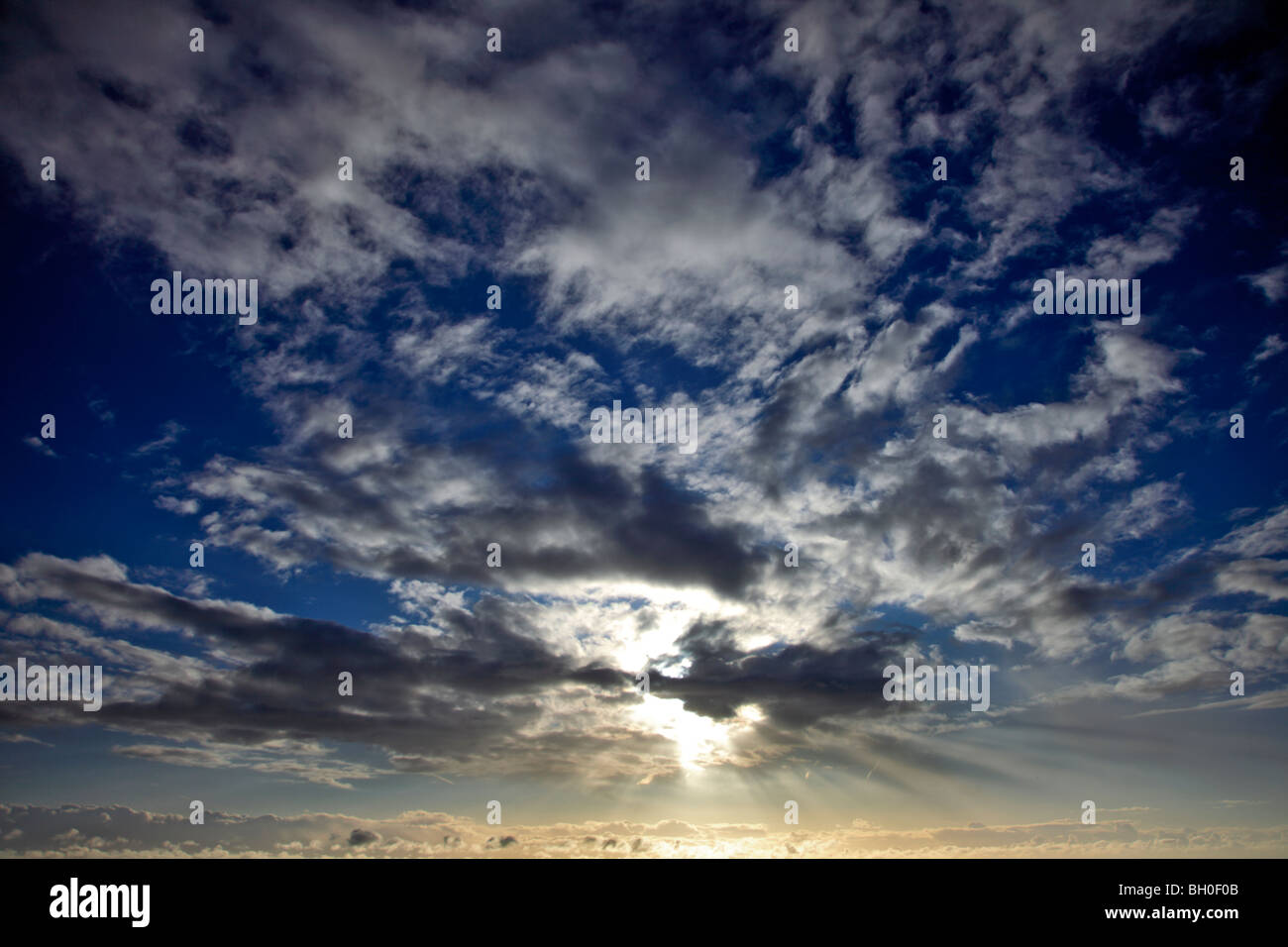 Altocumulus stratiformis Clouds over English Channel UK - Stock Image