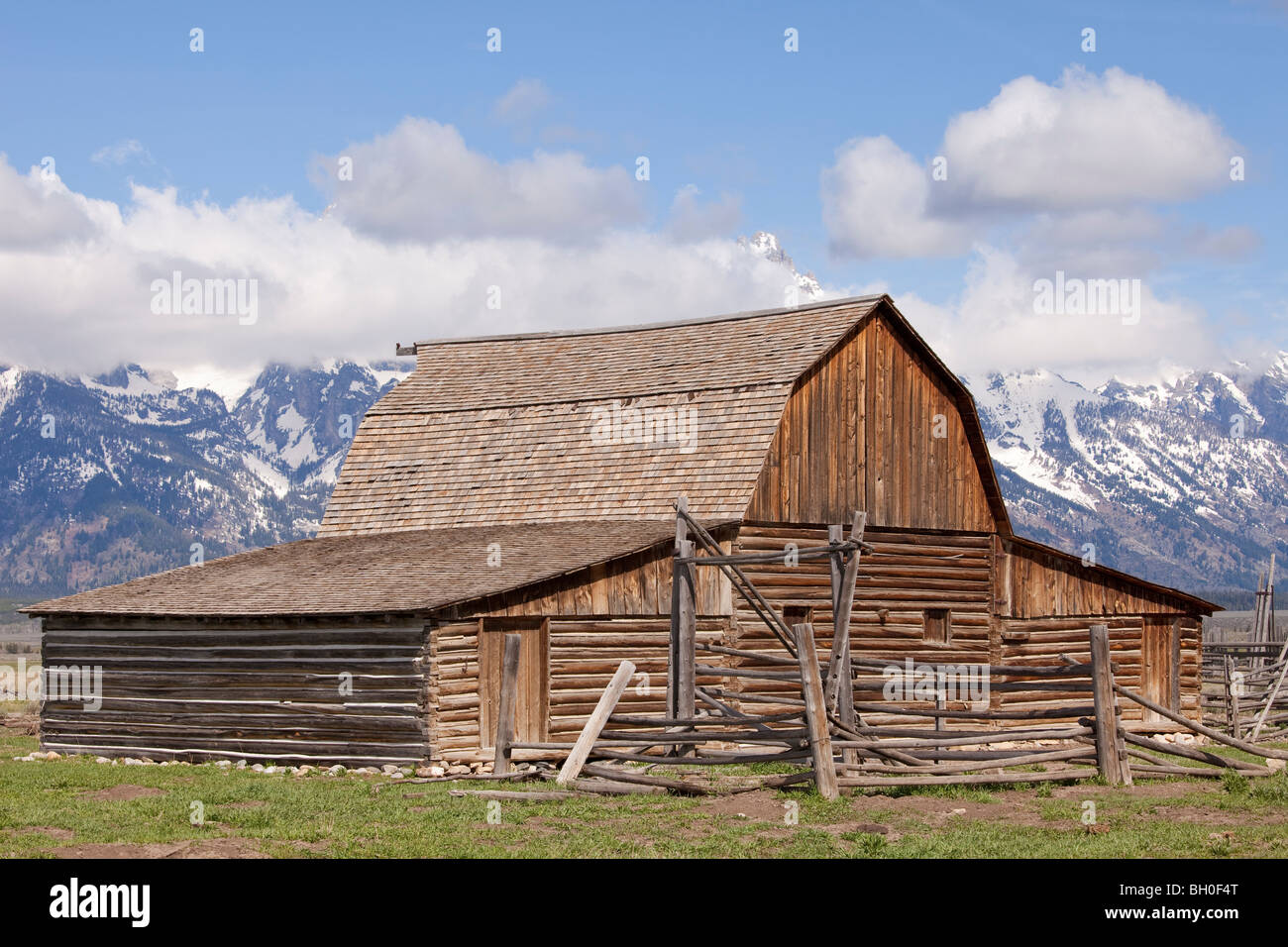 Historic Moulton Barn on 'Mormon Row' off Antelope Flats Road near Moose Junction, Wyoming, USA. - Stock Image