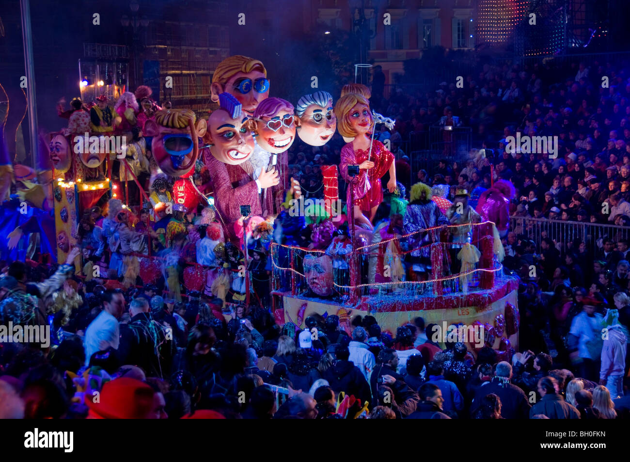 Nice, France, Public Events, Carnival Parade, Crowd Celebrating at Night, Floats on Street parading, celebrating Stock Photo