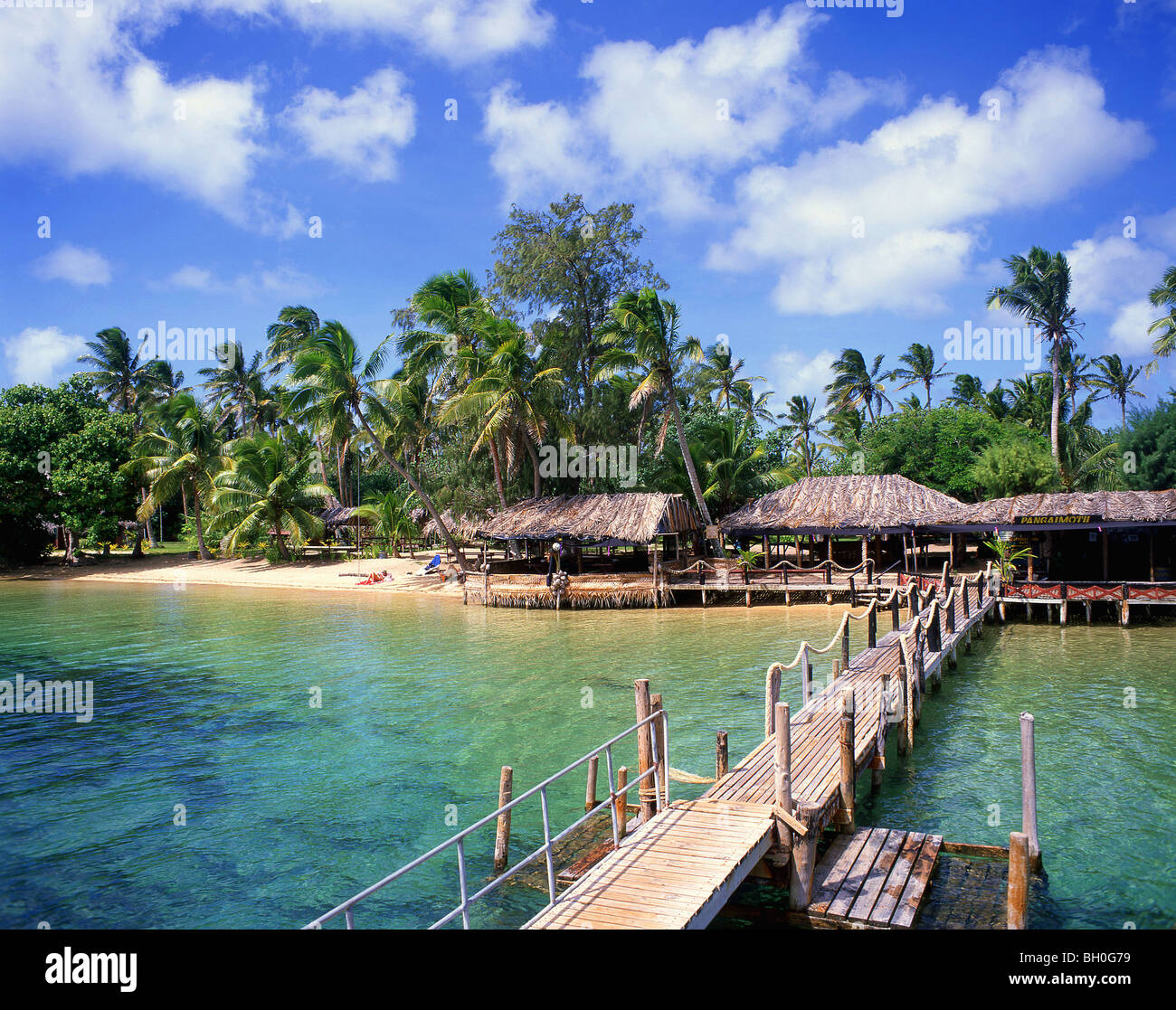Landing jetty, Pangaimotu Island, Tongatapu, Kingdom of Tonga Stock Photo