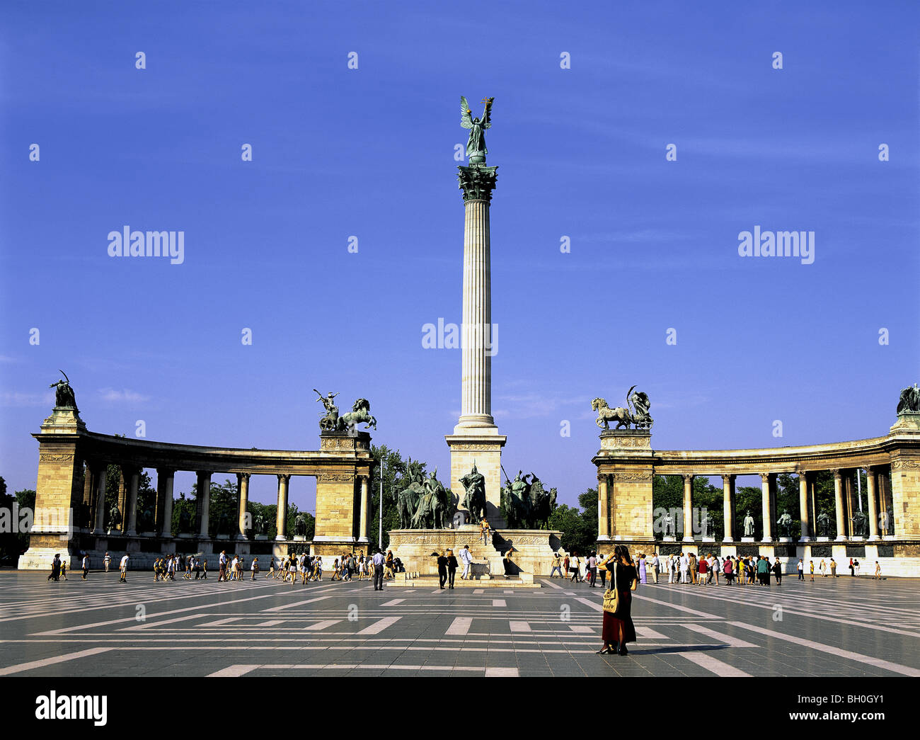 Millenary Monument  Heros' Square Budapest Hungary Stock Photo