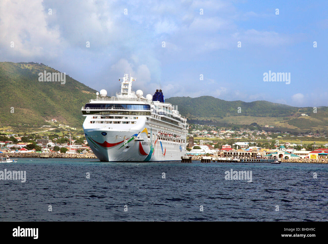 Cruise LIner 'Norwegian Dawn' at St.Kitts harbour in the Caribbean - Stock Image