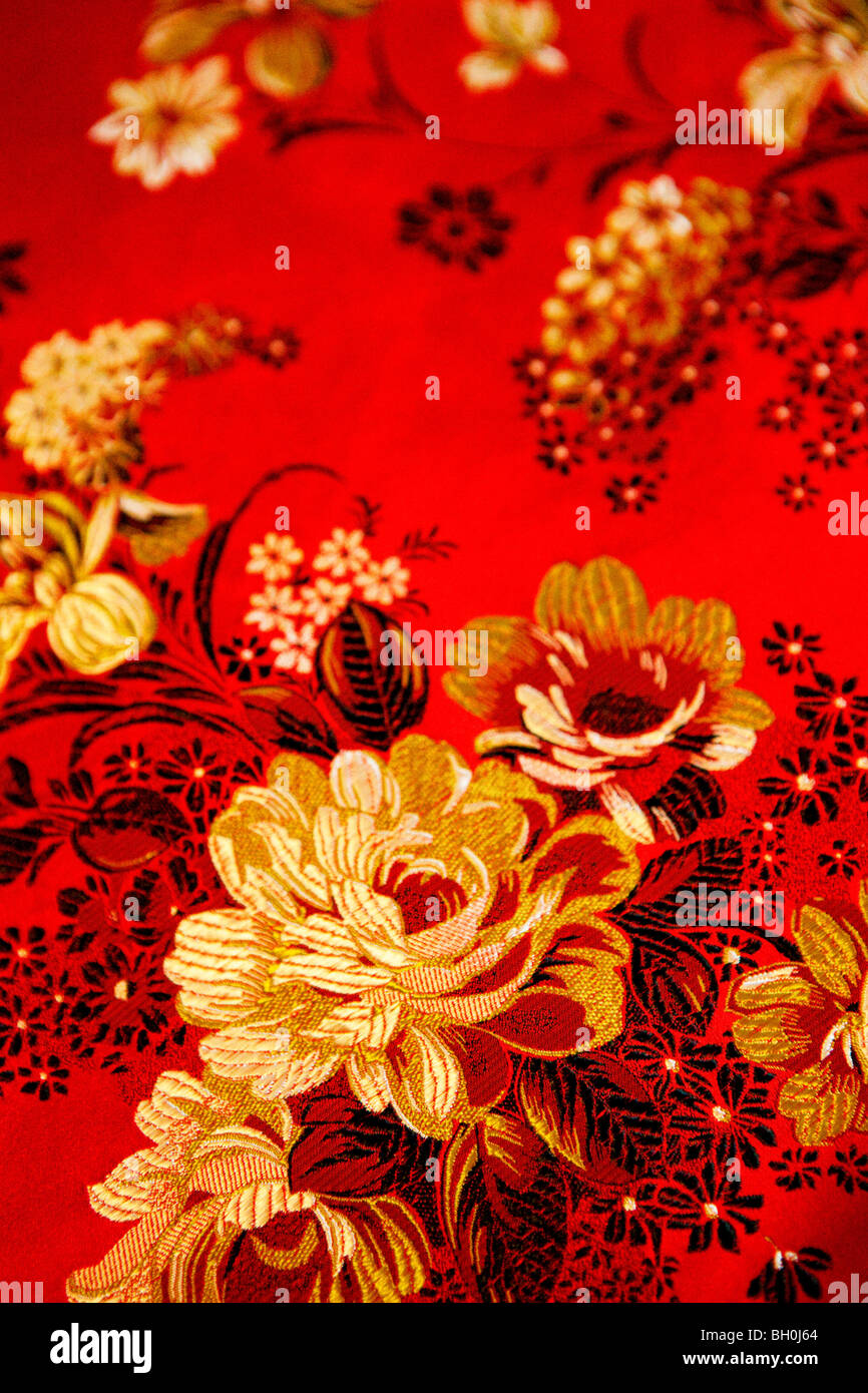 Floral design embroidered taiwanese silk, Taiwan, Asia - Stock Image
