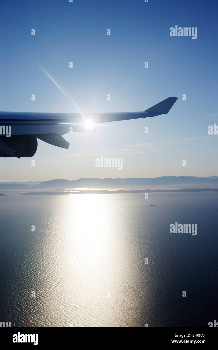 View through airplane window to Rocky Mountains, Oregon, USA - Stock Image
