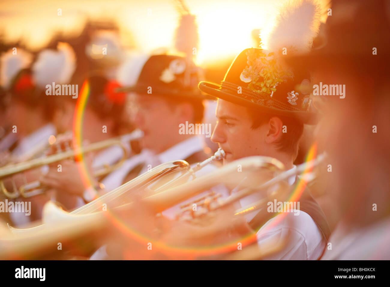 Brass band, Midsummer Festival, Muensing, Bavaria, Germany - Stock Image