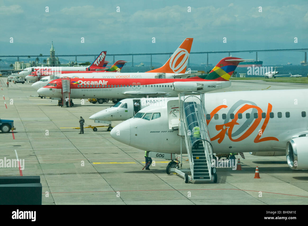 Brazil. Aeroplanes being serviced at Santos Dumont domestic airport in Rio - Stock Image