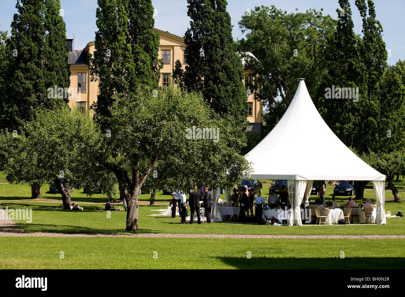 Sweden, Stockholm periphery, picnic, food, outdoors - Stock Image