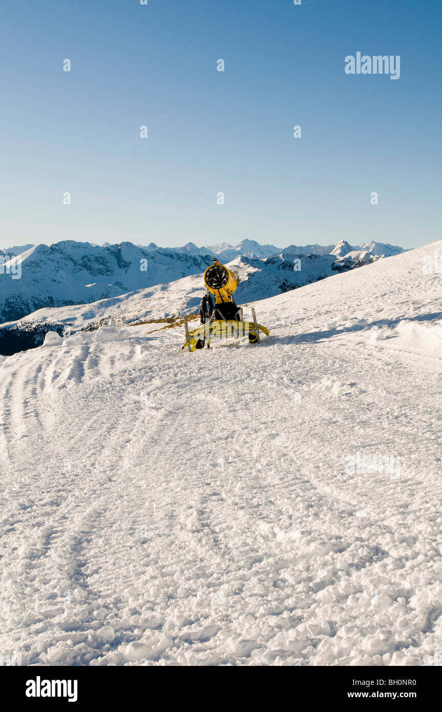 Snow cannon, Reinswald skiing area, Sarn valley, South Tyrol, Italy - Stock Image