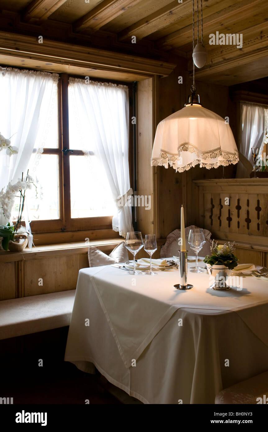 Restaurant Trenkerstube, Hotel Castel, Dorf Tirol near Meran, South Tyrol, Italy - Stock Image