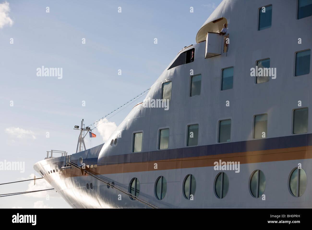 Bow of MV Columbus in the sunlight, Nuku'alofa, Tongatapu, Tonga, South Pacific, Oceania Stock Photo