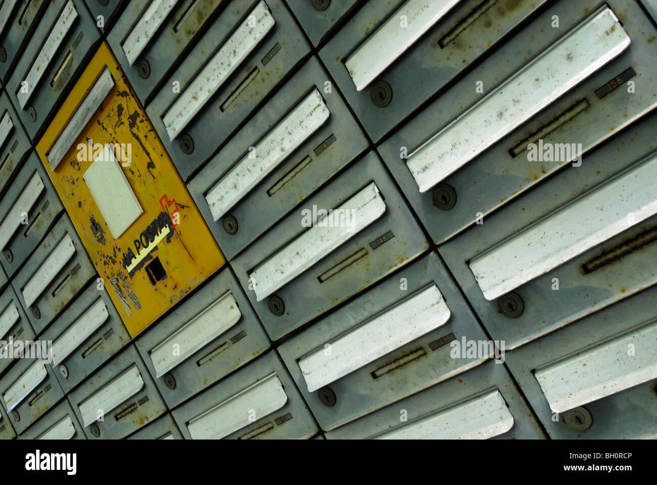 Rows of letter boxes, Orselina, Locarno, Ticino, Switzerland - Stock Image