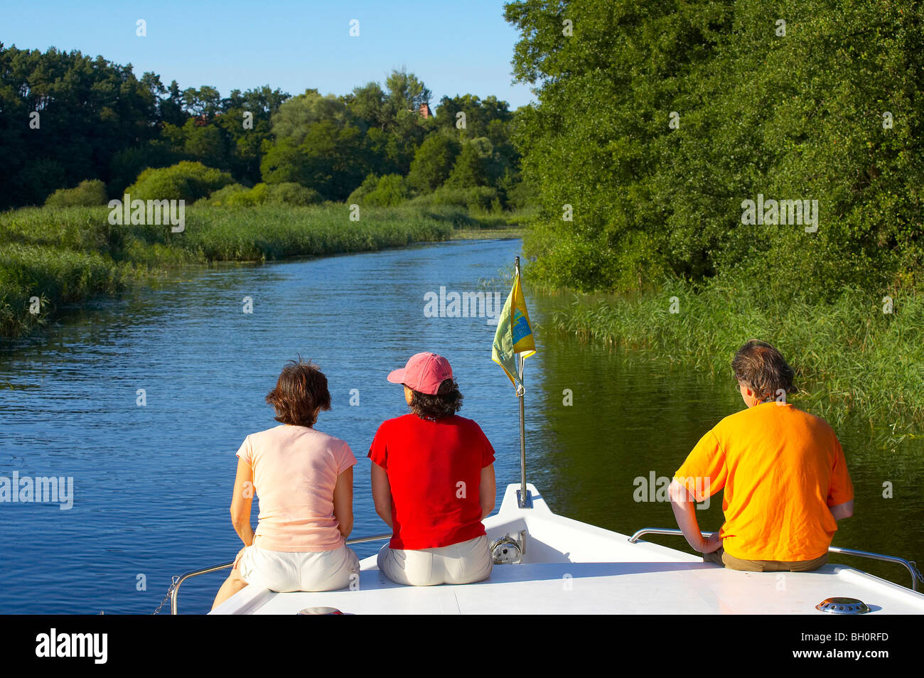 with the houseboat  on the 'Templiner Gewaesser', Brandenburg, Germany, Europe - Stock Image