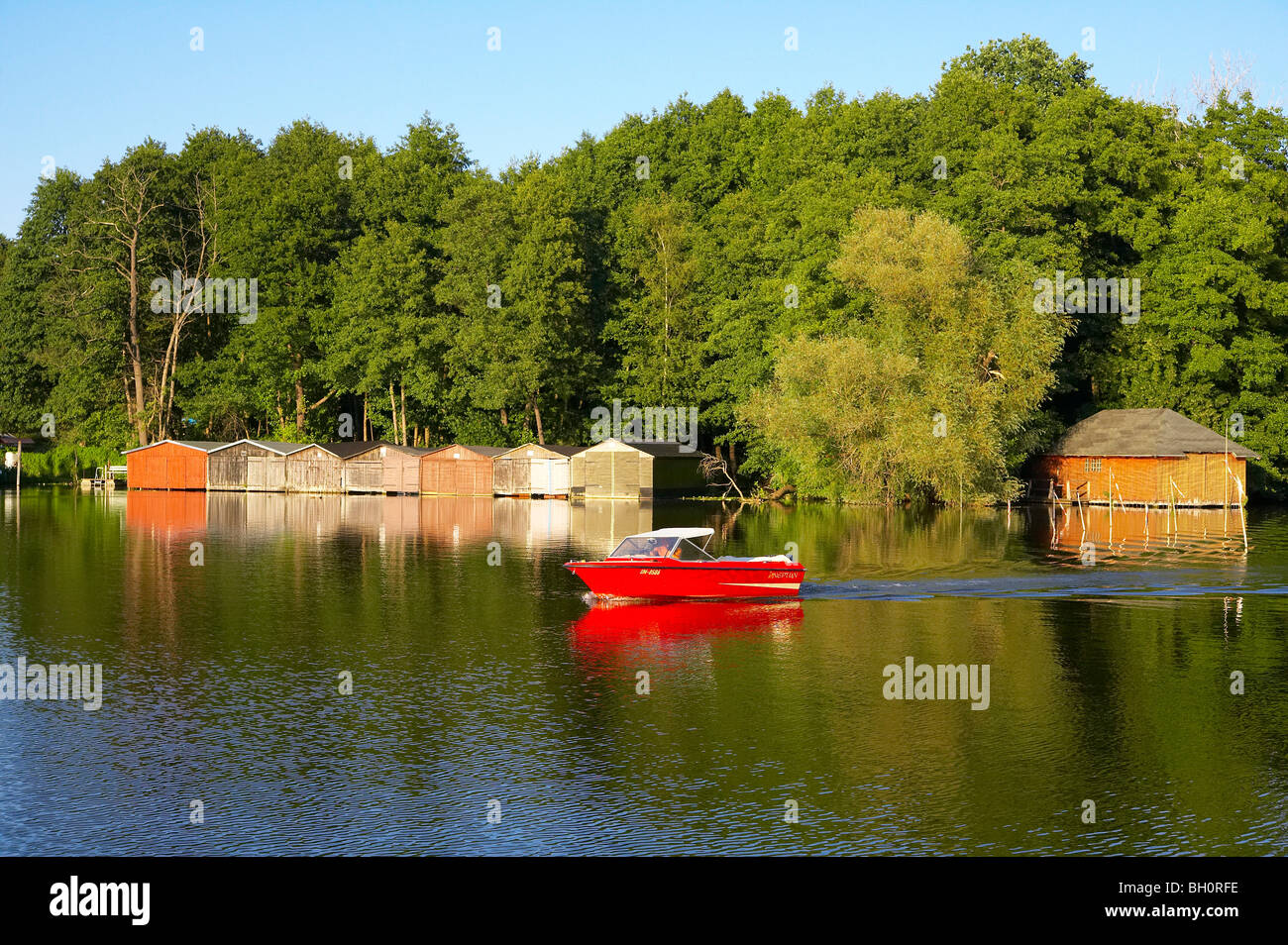 with the houseboat  on the 'Templiner Gewaesser', Templin, Brandenburg, Germany, Europe - Stock Image