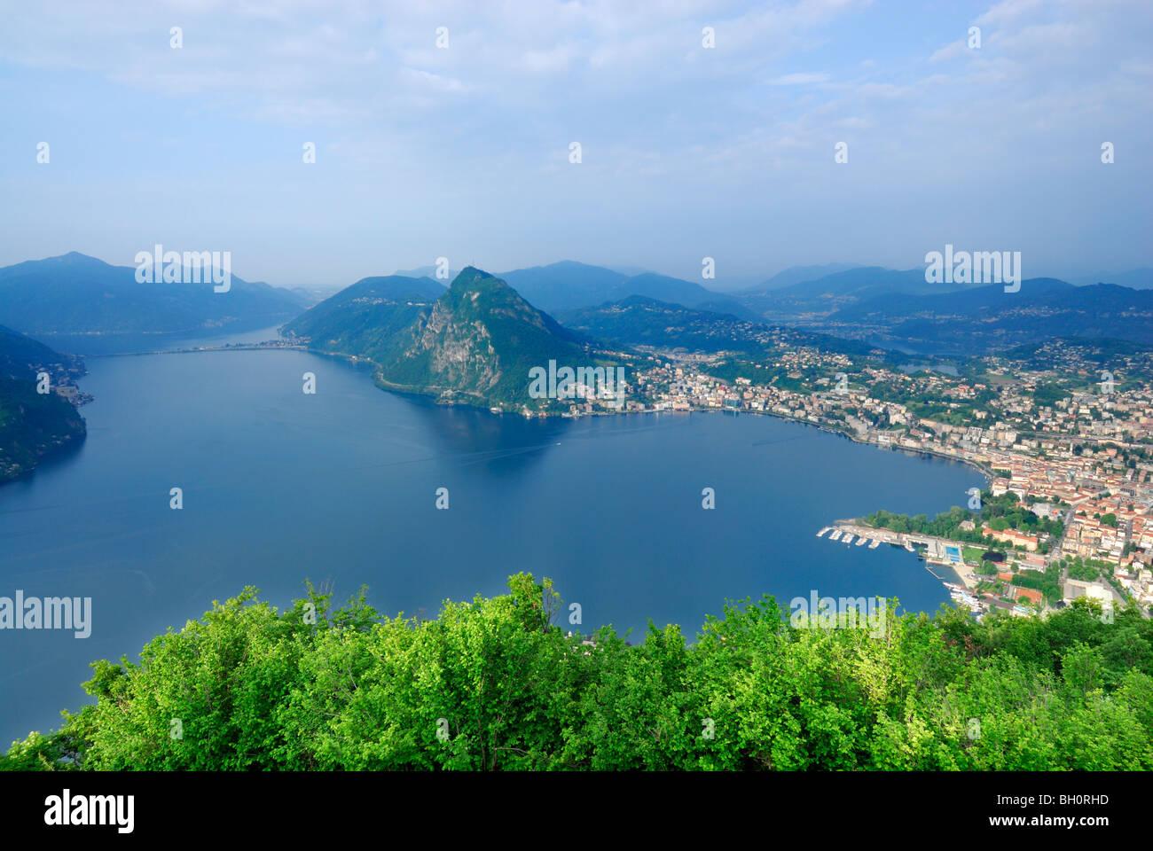 Lake Lugano, Lago di Lugano, with Monte San Salvatore and Lugano, Monte Bre, Lugano, Ticino, Switzerland Stock Photo