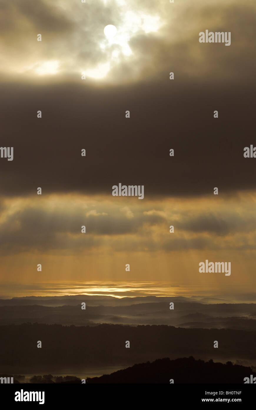 Landscape northeast of Monte Toro at sunrise, Minorca, Balearic Islands, Spain - Stock Image