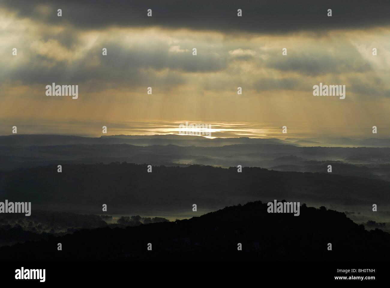 Landscape northeast of Monte Toro at sunrise, Menorca, Balearics, Spain - Stock Image