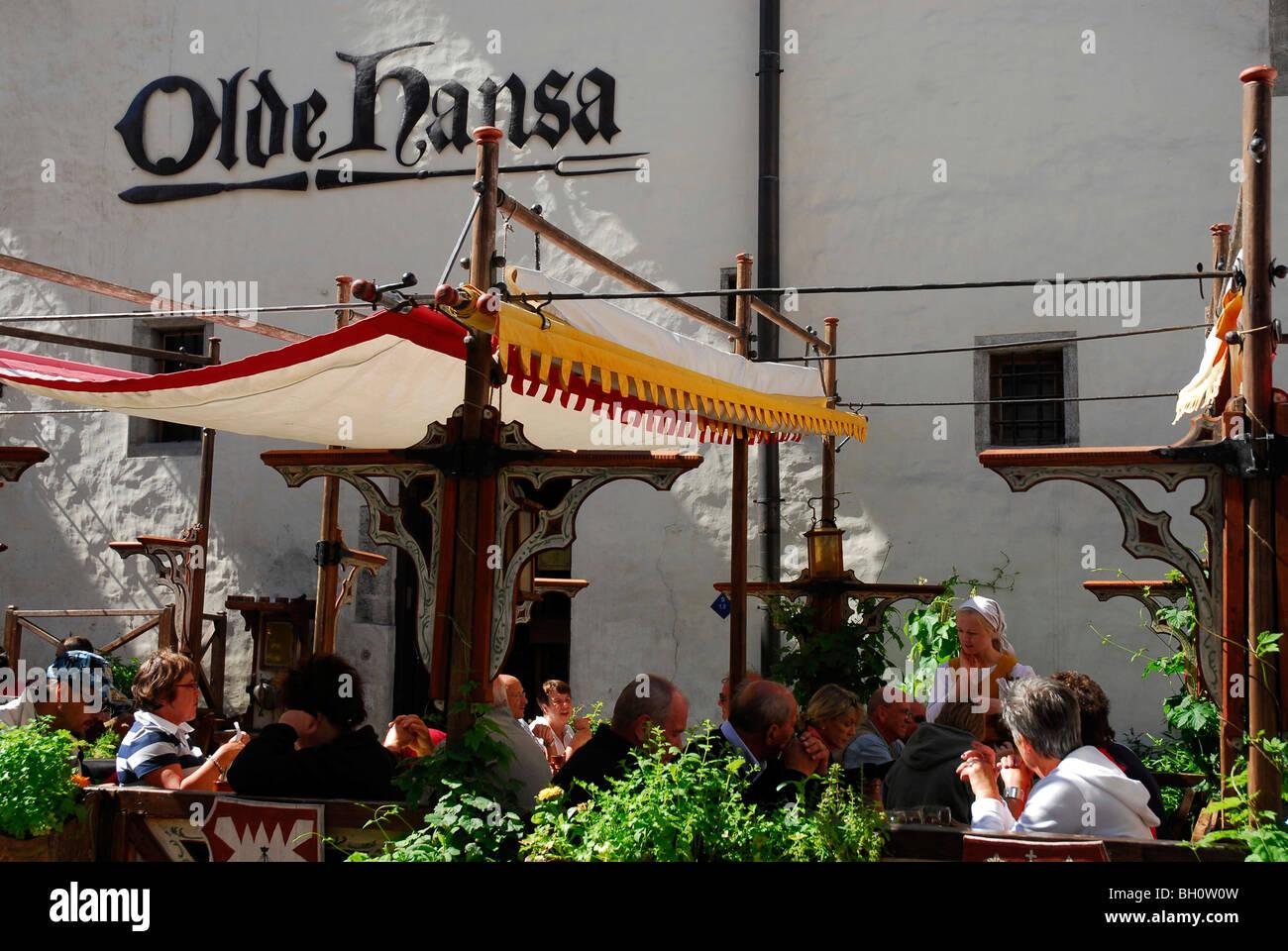 Olde Hansa Restaurant, which serves medievel dishes, Tallinn, Estonia - Stock Image