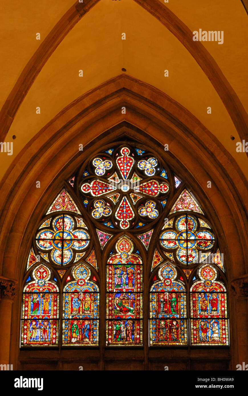 Colored window pane, Regensburg cathedral, Regensburg, Upper Palatinate, Bavaria, Germany - Stock Image