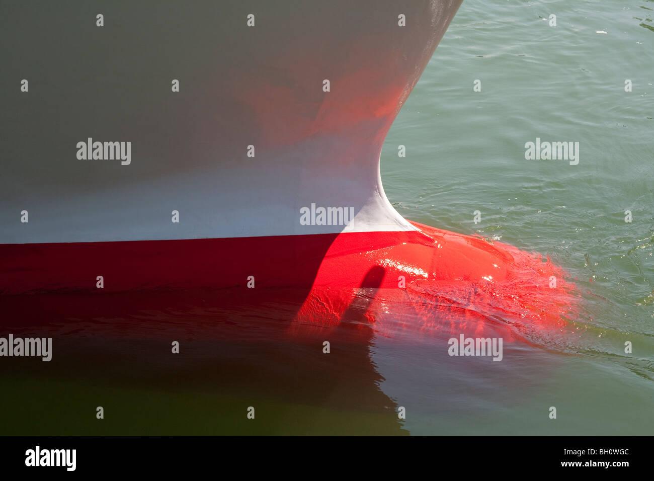 BULBOUS BOW, RULK, EXCURSION BOAT, CHIEMSEE LAKE, CHIEMGAU, BAVARIA, GERMANY - Stock Image