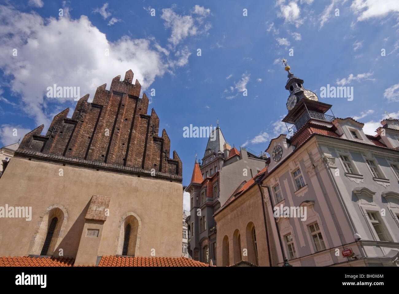 Alt-Neue Synagogue and Old Jewish Town Hall Prague Czech Republic - Stock Image