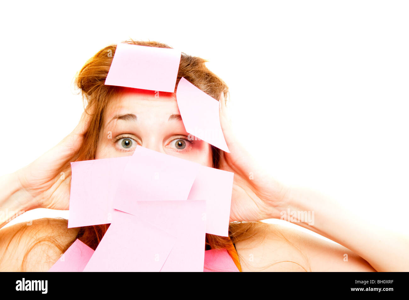 woman pasted over by a paper Stock Photo
