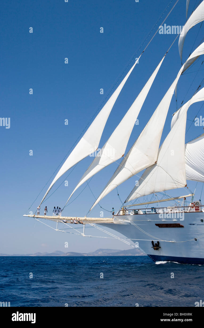 Sailing ship Star Clipper under full sail at Aegean Sea, Greece, Europe - Stock Image