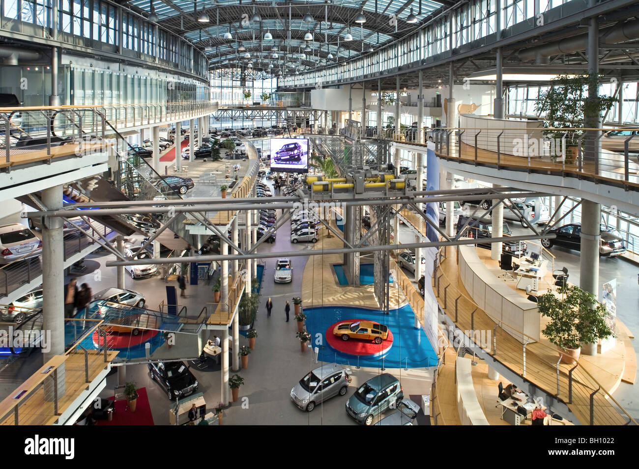 Interior view of the Mercedes Welt, showroom for Mercedes Benz, Salzufer, Berlin, Germany, Europe - Stock Image