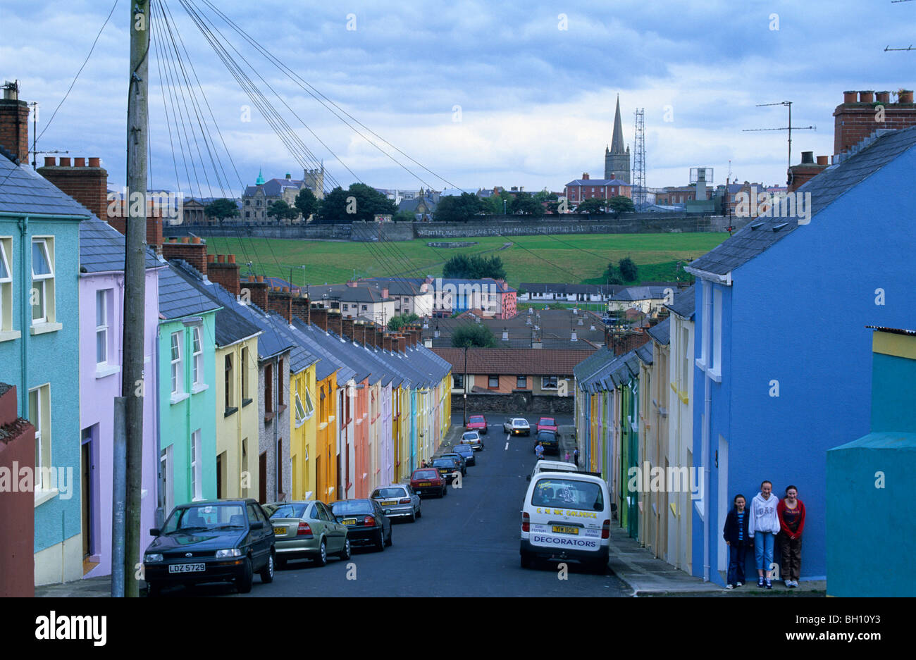Houses in Bogside, Derry, Co. Londonderry, Northern Ireland, Great Britain, Europe. The Bogside Massacre, Bloody - Stock Image