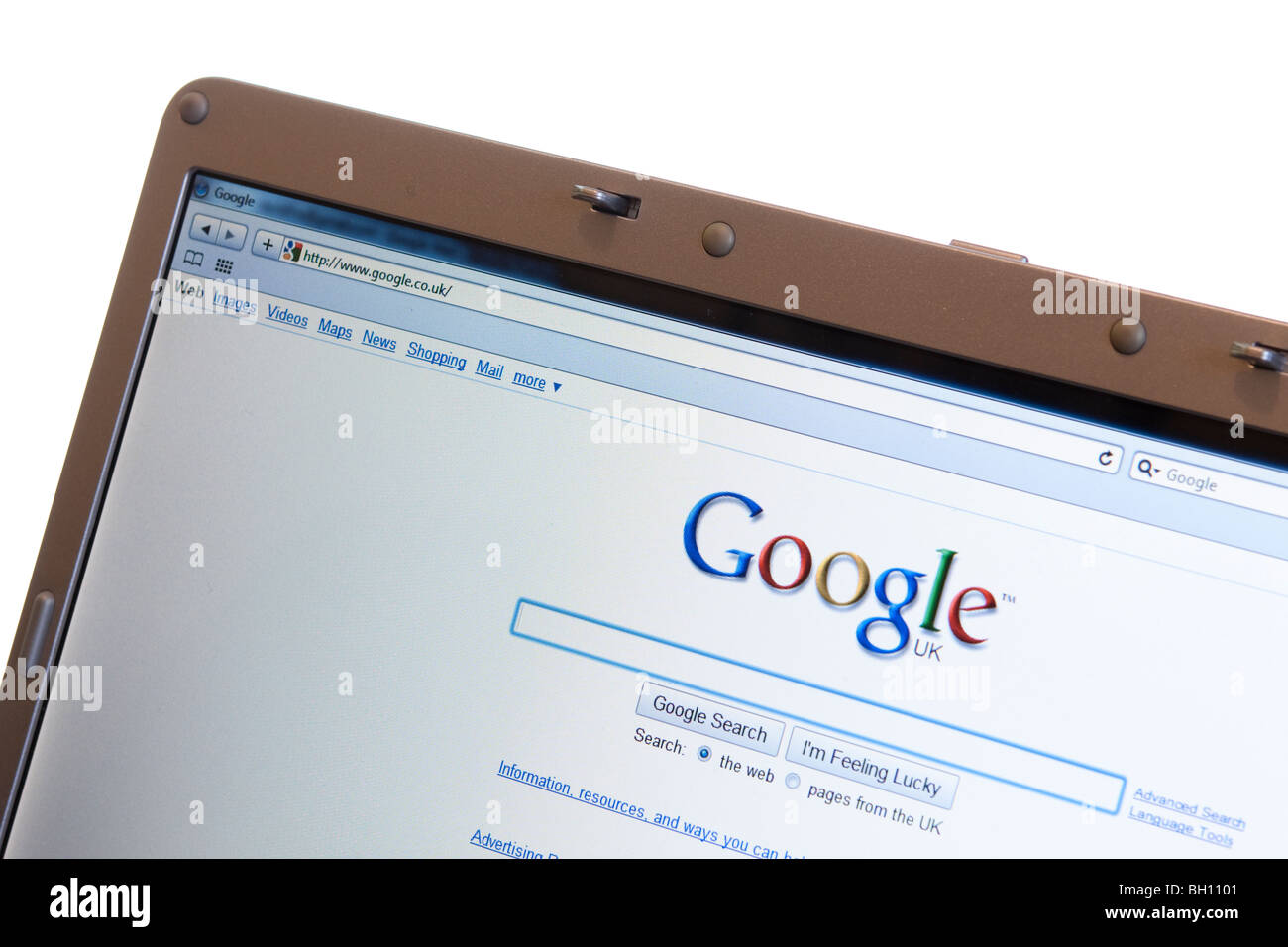 Google search engine website shown on modern laptop - Stock Image