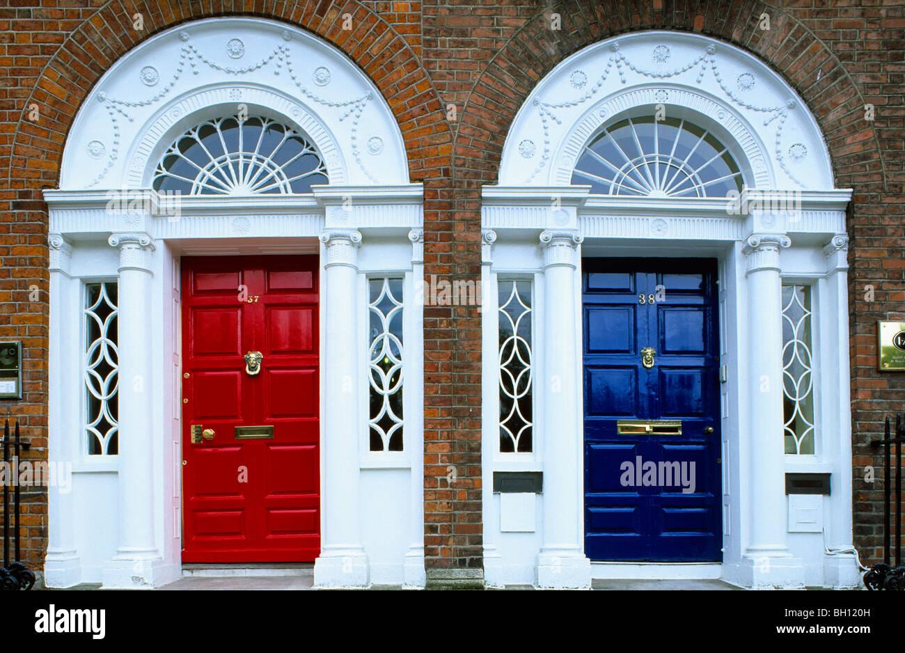 Colourful front doors, Merrion Square, Dublin, Ireland, Europe Stock ...