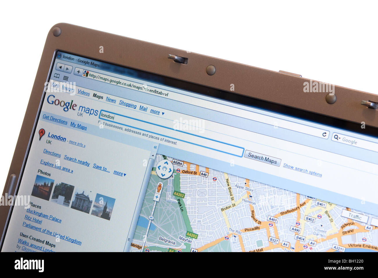 Google maps - website shown on modern laptop Stock Photo: 27683096 on